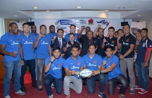Barisan pemain ragbi kebangsaan semasa sidang media yang telah diadakan di Hotel Mandarin Court, Kuala Lumpur.- FOTO: Sukandaily