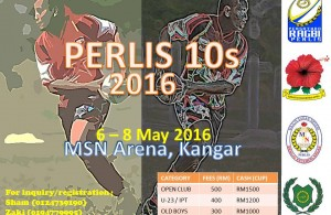 Kejohanan Ragbi Perlis 10's yang akan berlansung pada 6 hingga 8 Mei 2016 masih dibuka untuk pendaftaran