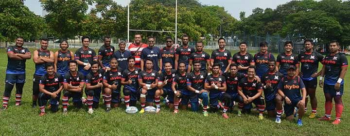 Barisan pasukan Kelab Ragbi Mersing Eagles yang beraksi dalam Liga Ragbi Malaysia 2017.