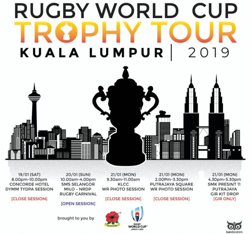 """Malaysia menjadi negara ke-12 menerima kunjungan rasmi """"Web Ellis"""" dalam siri siri jelajah trofi Piala Dunia Ragbi Jepun 2019. Kredit Foto - Kesatuan Ragbi Malaysia"""