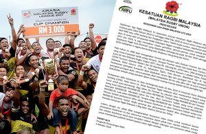 Kenyataan Media Kejohanan Liga Ragbi Malaysia 15 Sepasukan 2019 bertarikh 3 Oktober 2018. Kredit - Kesatuan Ragbi Malaysia